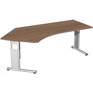 Gera Winkel-Schreibtisch Bürotisch C Fuß Flex 135° links höhenverstellbar 2166x1130x680-820mm onyx nussbaum