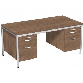 Gera Schreibtisch Bürotisch 4 Fuß Eco mit 2 Hängecontainern 2 Hängeregistraturfächern abschließbar 1600x800x720mm
