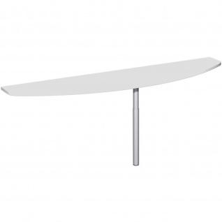Gera Anbautisch mit Stützfuß seitliche Anbringung höhenverstellbar für Schreibtisch Bürotisch 4 Fuß Flex 2000x500mm