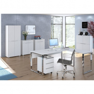 Maja Rollcontainer YAS 1531 Weißglas matt oder Weißglas-sand matt 390 x 605 x 500 mm