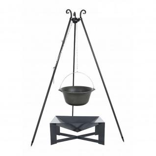 Outdoor Grill mit Feuerschale Pan 34, Dreibein, Kessel Gusseisen verschiedene Größen
