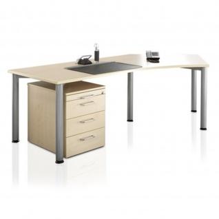 Büro komplett Büromöbel Stockholm 3-tlg., Schreibtisch Container Bürodrehstuhl