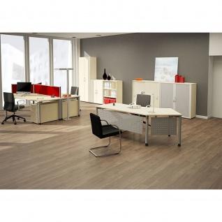 Gera Winkel-Schreibtisch 4 Fuß Flex 135° links höhenverstellbar 2166x1130x680-800mm ahorn buche lichtgrau weiß