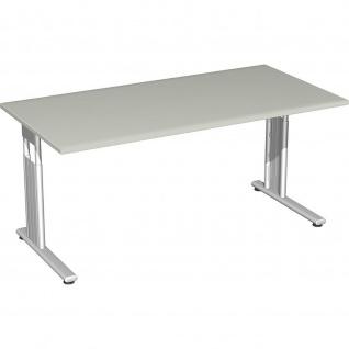 Gera Schreibtisch Bürotisch C Fuß Flex höhenverstellbar 1600x800x680-820mm ahorn buche lichtgrau weiß - Vorschau 1