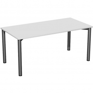 Gera Schreibtisch Bürotisch 4 Fuß Flex 1600x800x720 mm ahorn buche lichtgrau weiß