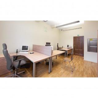 Schreibtisch Bürotisch E10 Toro Tiefe 80 x 80 cm Freiform Quadratrohrgestell verchromt