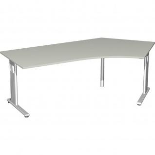 Gera Winkel-Schreibtisch Bürotisch C Fuß Flex 135° rechts 2166x1130x720mm ahorn buche lichtgrau weiß
