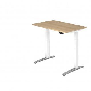 Hammerbacher Büro Schreibtisch Stehtisch höhenverstellbar 120x80 cm Modell XBHM12 mit Tast-Schalter