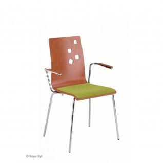 Besucherstuhl Bistrostuhl Ammi Arm Seat Plus chrom Holz/Stoff mit Armlehnen