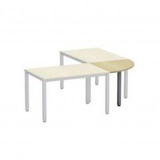 Verkettungsplatte 90° Schreibtisch E10 Toro Rundrohrgestell Höhe 740 mm Alu, weiß, dkl.grau schwarz