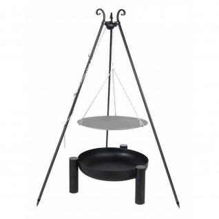 Outdoor Grill mit Feuerschale Pan 38, Dreibein, Lagerfeuerpfanne verschiedene Größen