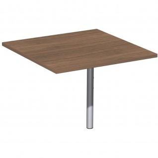 Gera Verkettungsplatte Volleck 90° mit Stüztfuß höhenverstellbar für Schreibtisch Bürotisch 4 Fuß Flex 800x800x680-800mm onyx nussbaum