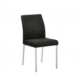 Edler Design Stuhl Esszimmerstuhl Barile 1 Stoff Gestell Edelstahl