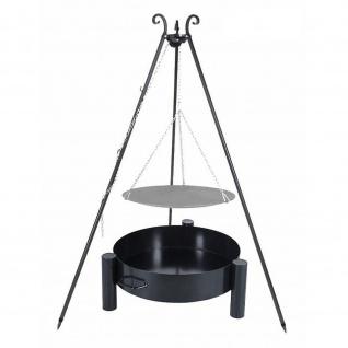 Outdoor Grill mit Feuerschale Pan 33, Dreibein, Lagerfeuerpfanne verschiedene Größen