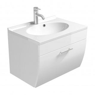 Waschtisch Waschplatz m. Mineralgussbecken und Klappe Badezimmer Gästebad Salona, MDF Fronten Hochglaz