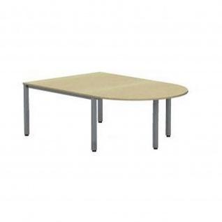 Anbautisch Halbkreis Konferenztisch Schreibtisch E10 Toro Quadratrohrgestell H:740 mm Alu, weiß, dkl.grau schwarz