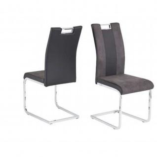 Schwingstuhl Esszimmerstuhl BARI 2-er Set schwarz/grau Kufe verchromt Maße 43 x 58 x 100 cm