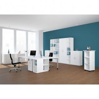Gera Schreibtisch Bürotisch 4 Fuß Flex höhenverstellbar 1600x800x680-800 mm ahorn buche lichtgrau weiß