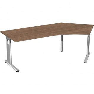 Gera Winkel-Schreibtisch Bürotisch C Fuß Flex 135° rechts höhenverstellbar 2166x1130x680-820mm onyx nussbaum
