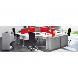 Schreibtisch Bürotisch E10 Toro Tiefe 80 cm C-Fuß-Gestell Alu oder weiß Holz-Beinraumblende