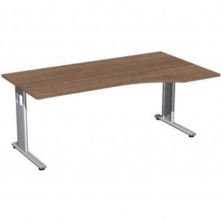 Gera PC-Schreibtisch Bürotisch C Fuß Flex rechts 1800x800/1000x720mm onyx nussbaum