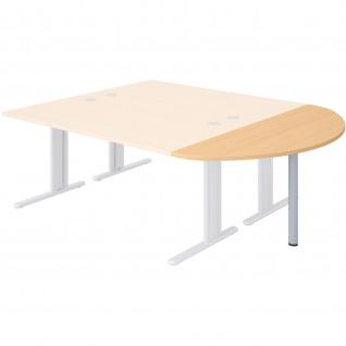 Büro Schreibtisch Steel halbrunder Ansatz 80 x 40 cm
