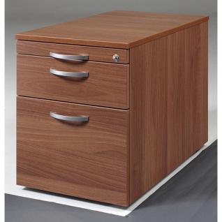 Gera Büro Rollcontainer 800 Venedig T:800mm Hängeregistratur Metallschubfach Sichtrückwand onyx nussbaum