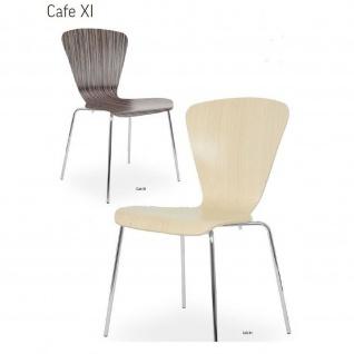 Besucherstuhl Bistrostuhl Cafe XI Wood CR 4-Bein verchromt Sitzschale Holz laminiert