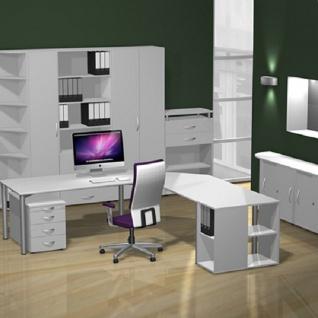Gera Schreibtisch Bürotisch 4 Fuß Flex höhenverstellbar 1800x800x680-800 mm ahorn buche lichtgrau weiß