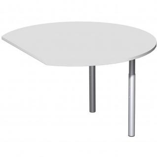 Gera Anbautisch rund mit Stützfüßen für Schreibtisch Bürotisch 4 Fuß Eco 1047x800/1200mm