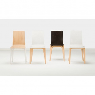 Besucherstuhl Bistrostuhl Cafe VII Wood LGW 4-Bein-Holzgestell