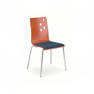 Besucherstuhl Bistrostuhl Ammi Seat Plus chrom Holz/Stoff