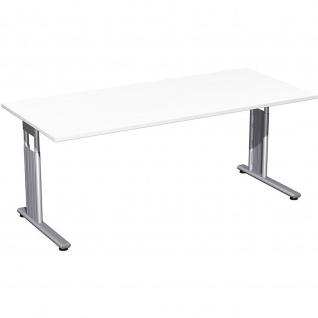 Gera Schreibtisch Bürotisch C Fuß Flex höhenverstellbar 1800x800x680-820mm ahorn buche lichtgrau weiß