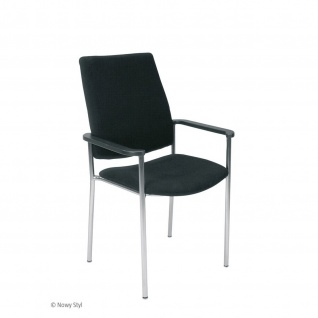 Konferenzstuhl Besucherstuhl Objektstuhl Zen Arm 4-Bein Gestell verchromt Kunstleder