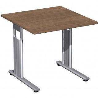 Gera Schreibtisch Bürotisch C Fuß Flex höhenverstellbar 800x800x680-820mm onyx, nussbaum