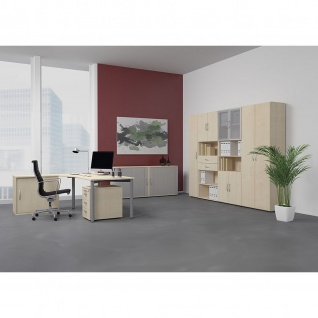 Gera PC-Schreibtisch Bürotisch 4 Fuß Flex Freiform rechts 1800x800/1000mm ahorn buche lichtgrau weiß