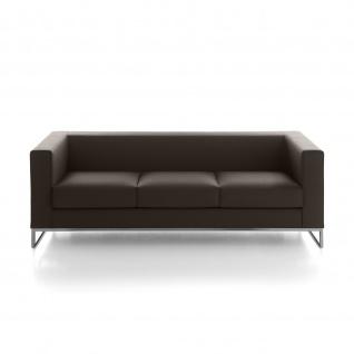 Design Sofa Lounge Klasse 3 Sitzer einfarbig Gestell verchromt