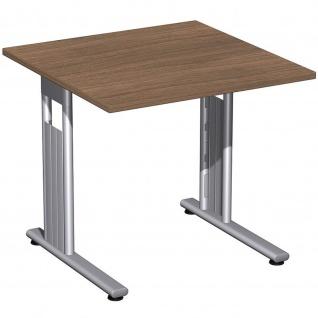 Gera Schreibtisch Bürotisch C Fuß Flex 800x800x720mm onyx, nussbaum