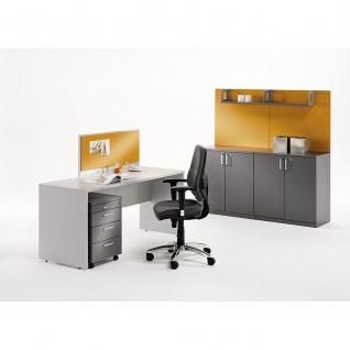 Schreibtisch Bürotisch E10 Toro Tiefe 80 cm Holzwangengestell mit Beinraumblende