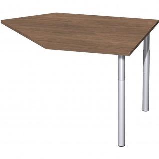 Gera Datenanbautisch rechts mit Stützfüßen für Schreibtisch Bürotisch 4 Fuß Eco 1060x1225mm