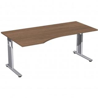 Gera PC-Schreibtisch Bürotisch C Fuß Flex links höhenverstellbar 1800x800/1000x680-820mm onyx nussbaum