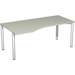 Gera PC-Schreibtisch Bürotisch 4 Fuß Flex Freiform links 1800x800/1000mm ahorn buche lichtgrau weiß