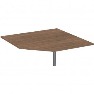 Gera Verkettungsplatte Fünfeck 90° mit Stützfuß höhenverstellbar für Schreibtisch Bürotisch 4 Fuß Flex 1225x1225x680-800mm onyx nussbaum