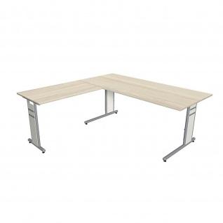 Kerkmann Schreibtisch 4096 Form 4 180x80 x mit C-Fuß-Gestell und Anbautisch - Vorschau 1