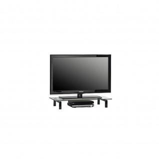 TV Board mit Glas, Metall weiß oder schwarz 1603
