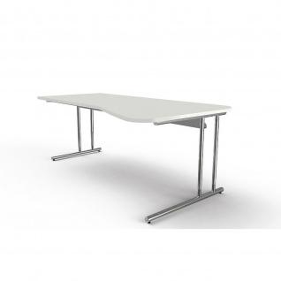 Kerkmann Schreibtisch Freiformtisch Artline 195 x 100 x 68 - 82 cm mit C-Fuss-Gestellt verchromt