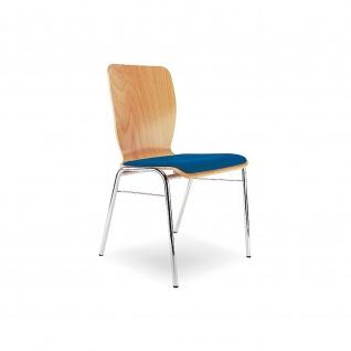 Bistrostuhl Besucherstuhl Objektstuhl WING II Seat Plus 4L CR verchromt Sitzpolster Buchenschichtholz