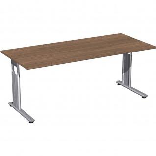 Gera Schreibtisch Bürotisch C Fuß Flex höhenverstellbar 1800x800x680-820mm onyx, nussbaum