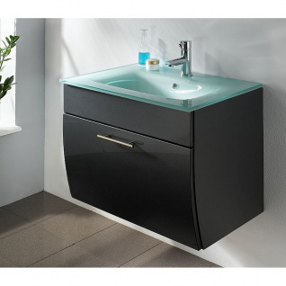 Waschtisch Waschplatz m. Glasbecken Badezimmer Gästebad Salona, MDF Hochglanz Fronten