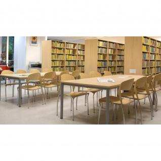 Konferenztisch Bürotisch E10 Toro 140 x 70 cm Quadratrohrgestell Höhe 740 mm verchromt - Vorschau 1